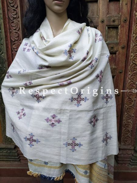 Luxurious Handloom Fine Soof Embroidered Woollen White Shawl With Brown and Blue Embroidery Online at RespectOrigins.com