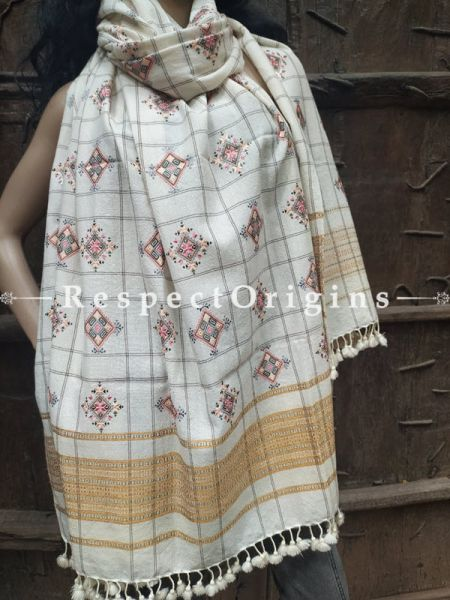 Luxurious Handloom Fine Soof Embroidered Woollen White Shawl With Brown and Pink Embroidery Online at RespectOrigins.com