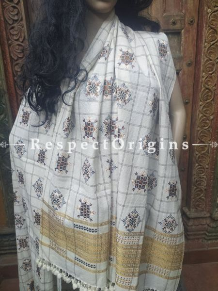 Luxurious Handloom Fine Soof Embroidered Woollen White Shawl With Brown Embroidery Online at RespectOrigins.com