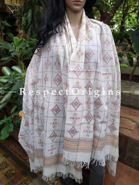 Luxurious Handloom Fine Soof Embroidered Woollen White Shawl With Green and Pink Embroidery Online at RespectOrigins.com