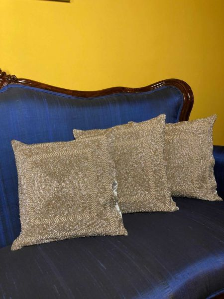 Luxurious Beige Hand-embroidered Beadwork Throw Cushions Trio Gift Set. Zipper Back; RespectOrigins.com