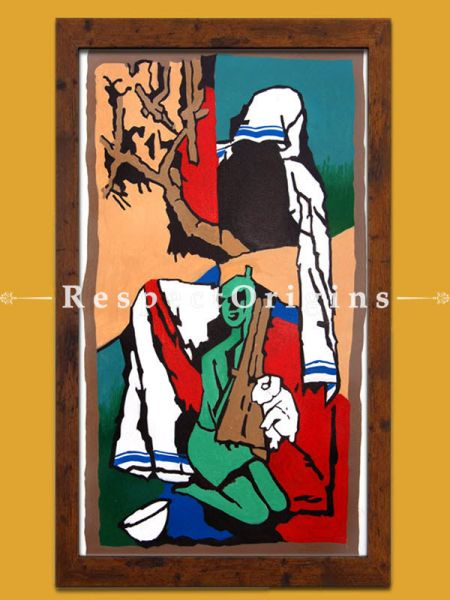 M.F Hussain Reproduction of a Women holding a lamb in her arms Acrylic on Canvas Modern Art Painting: 18x32 in