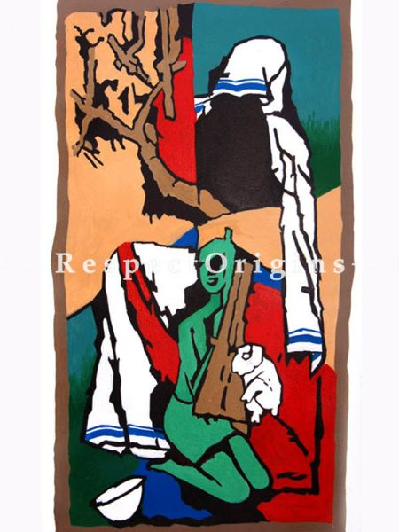 M.F Hussain Reproduction of a Women holding a lamb in her arms Acrylic on Canvas Modern Art Painting: 18 x 32 inches;RespectOrigins
