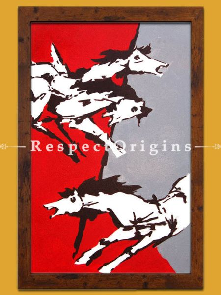 M.F Hussain Reproduction Three Horses/ Acrylic on Canvas Modern Art Painting 42x24 in