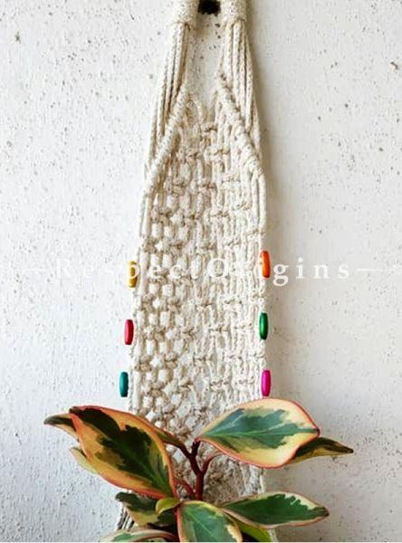 Buy Macrame Hanging Plant Holder With Bids, White At RespectOrigins.com