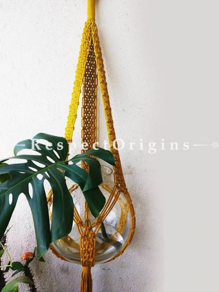 Buy Macrame Pot Holder For Terrariums, Hanging, Yellow At RespectOrigins.com