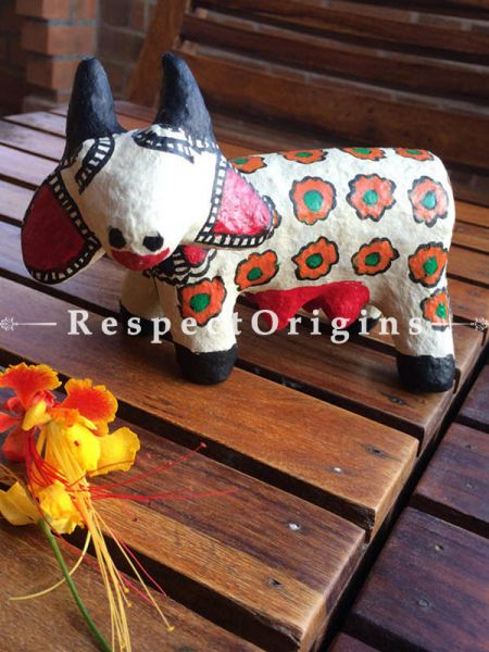 Buy Eco-friendly chemical free papier mache toy cow with madhubani artwork on it. At RespectOrigins.com