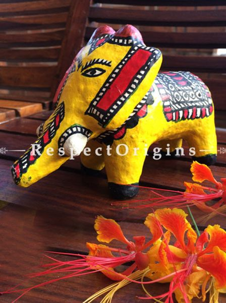 Buy Eco-friendly chemical free papier mache toy elephant with madhubani artwork in the size 4x7x4 in. At RespectOrigins.com