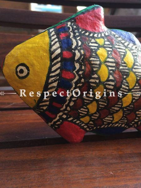Buy Eco-friendly, chemical free papier mache toy fish with madhubani artwork on it. It comes in the size 6x4 in At RespectOrigins.com