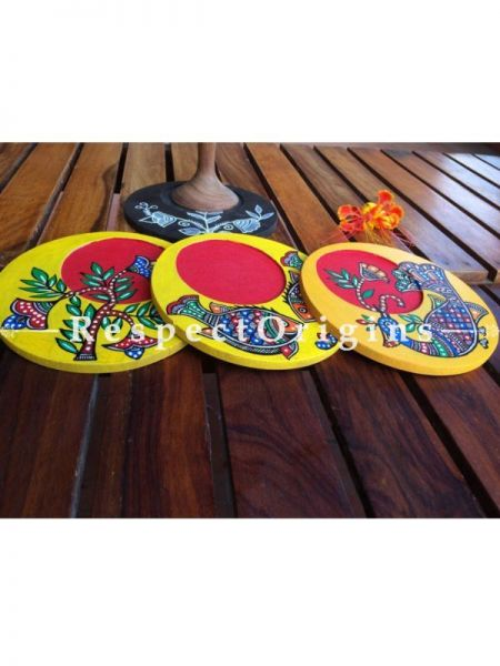 Buy Set of 4 round Coasters with Madhubani Artwork; Handcrafted; Hand painted; Wood At RespectOrigins.com