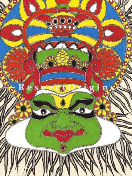 Madhubani Kathakali Painting; 21In x 29In Acrylic On Paper.