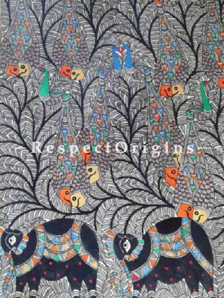 Tree of Life With Colorful Fish; Madhubani Painting; Paper 22x30