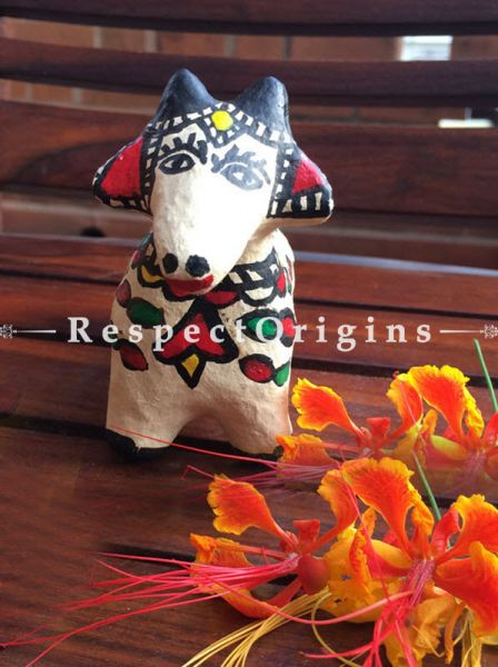 Buy Eco-friendly chemical free papier mache toy cow with madhubani artwork on it. It comes in the size 4x5x3 in. At RespectOrigins.com