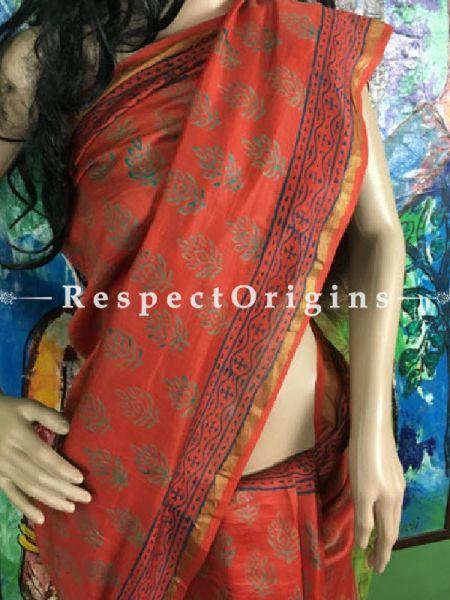Buy Maheshwari Green & orange Silk Sarees Online; RespectOrigins.com