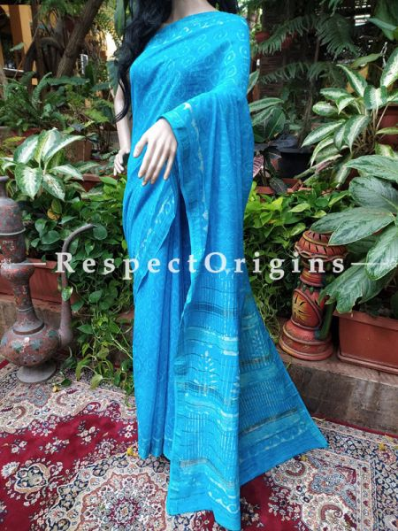 Red Maheshwari Saree with Floral Motifs; Blouse included; RespectOrigins.com