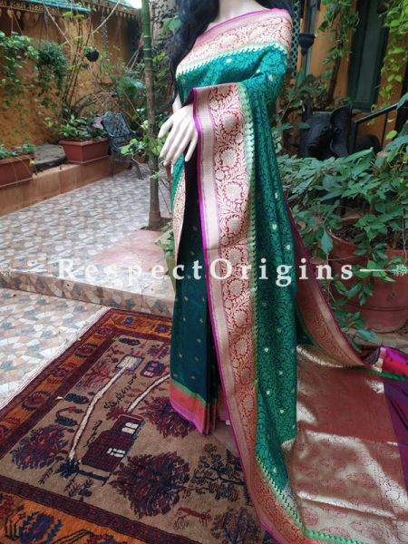 Rich Emerald Green Fine Benarasi Wedding Silk Saree with Zari Buti, Border n Pallu; Blouse included; RespectOrigins.com