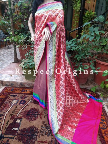 Pink Patola Weave Benarasi Silk Saree with Zari Border; Blouse Included; RespectOrigins.com