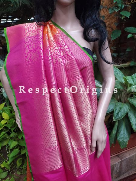 Pink Benarasi Georgette Silk Bandhej Saree; Blouse Included; RespectOrigins.com
