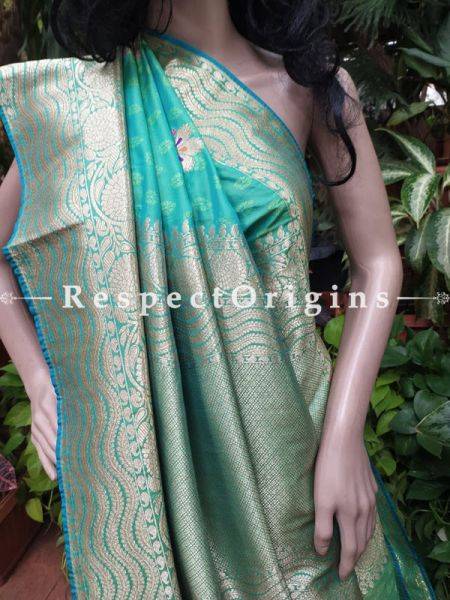 Benarasi Wedding Silk Saree with woven Jacquard in Green n Blue Contrasting with Red n Pink Zari Border-Pallu; RespectOrigins.com
