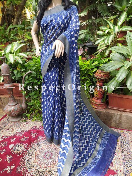 Blue Maheshwari Saree with Floral Motifs; Blouse included; RespectOrigins.com