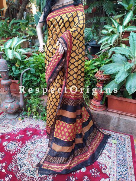 Yellow Maheshwari Saree with Floral Motifs; Blouse included; RespectOrigins.com