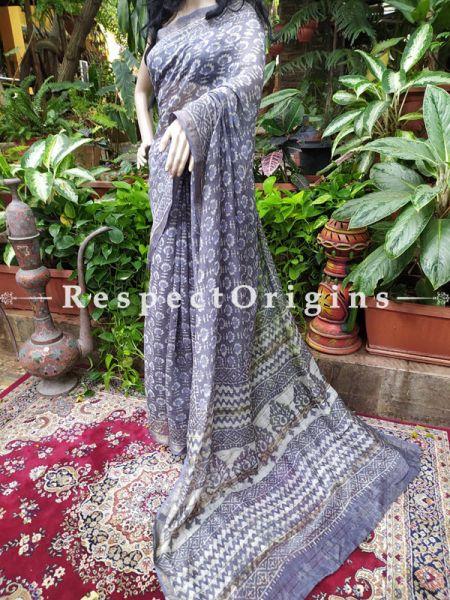 Gray Maheshwari Saree with Floral Motifs; Blouse included; RespectOrigins.com