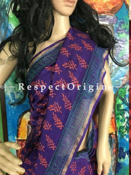 Buy Maheshwari Violet Silk Sarees Online; RespectOrigins.com