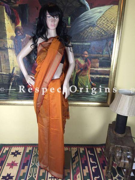 Maheshwari Yellow Cotton Silk Saree, RespectOrigins.com