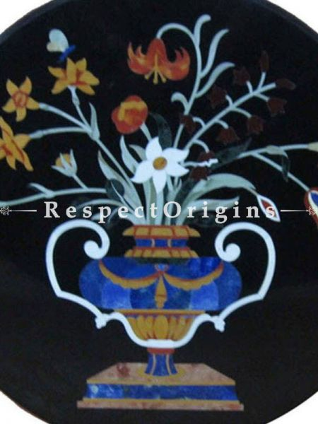 Buy Luxury Pietra Dura  black Marble inlay Round Table Top Hand Carved With Marble inlay Dining Table Top; 2 Feet At RespectOrigins.com