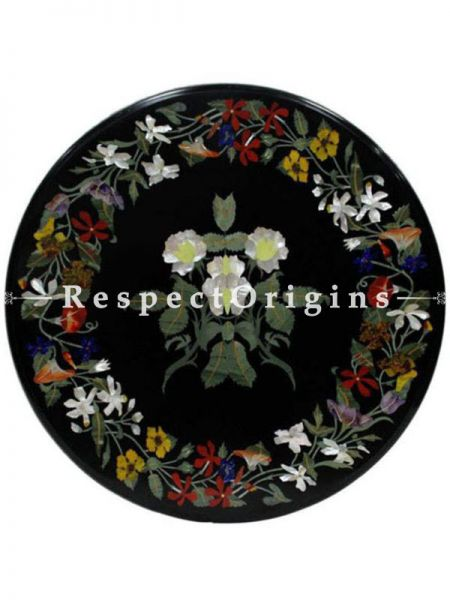 Buy Fabulous Black Pietra Dura Marble Handcrafted inlay Work Round Table Top; Dining Table Top; 2 Feet At RespectOrigins.com
