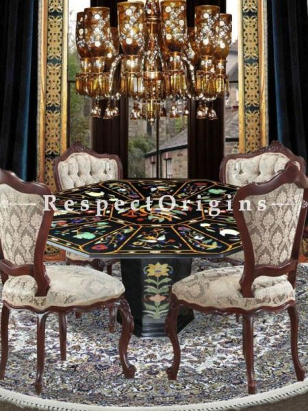 Buy Magnificent Black Pietra Dura Marble Handcrafted inlay Work Octagonal Table Top; Dining Table Top; 4x4 Feet At RespectOriigns.com