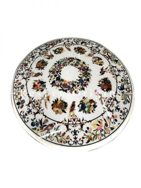 Buy Pristine White Marble Pietra Dura Coffee, Cocktail or Dining Table Top with Gorgeous Florals in Semi Precious Stone. At RespectOriigns.com