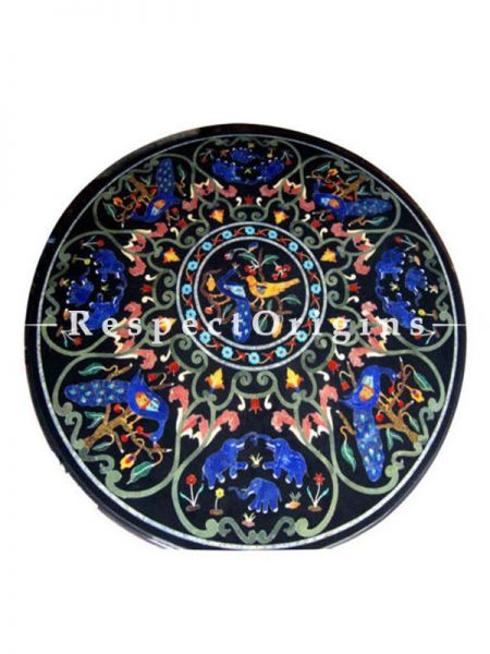 Buy Fabulous Black Pietra Dura Marble Handcrafted inlay Work Round Table Tops; Dining Table Top; 4 Feet At RespectOriigns.com