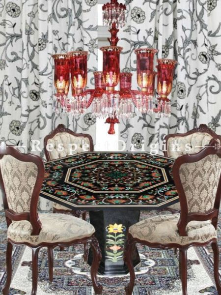 Buy Extravagant Black Pietra Dura Marble inlay Work Octagonal Pietra Dura Table Tops; Hand Carved With Marble inlay Dining Table Top; 4x4 Feet At RespectOriigns.com