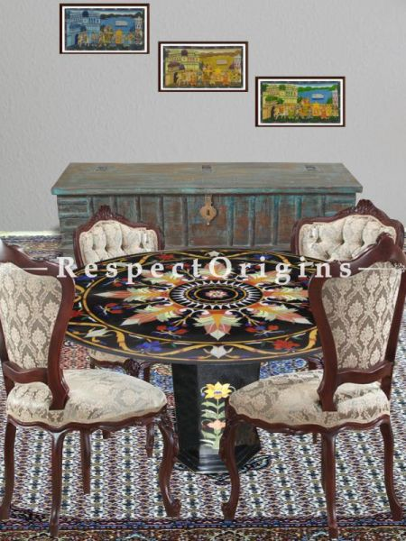 Buy Lavish Black Marble Handcrafted inlay Work Round Table Tops; Dining Table Top; 3x3 Feet At RespectOriigns.com