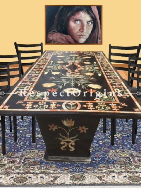 Buy Black Rectangular Large Marble 8 Seater Dining Table Pietra Dura inlay Work At RespectOriigns.com
