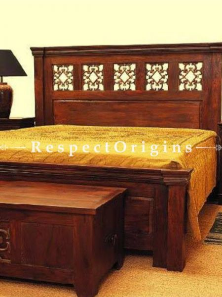 Buy Marianna Solid Wood Carved Bedroom Set; Double Bed, Night Stand, Dresser with Mirror, Storage Bench; Handcrafted At RespectOrigins.com