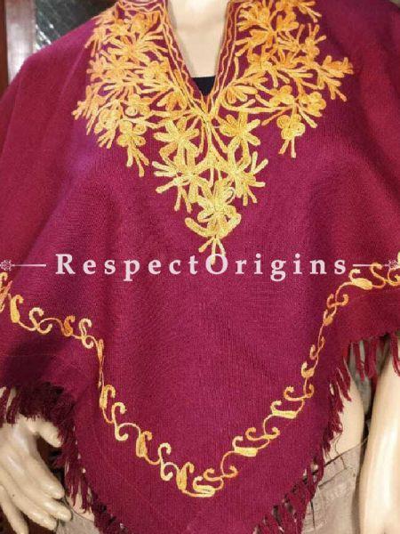 Maroon Aari Embroidered Woolen Poncho; RespectOrigins.com