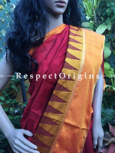 Maroon; Cotton Silk Saree; Handloom, RespectOrigins.com
