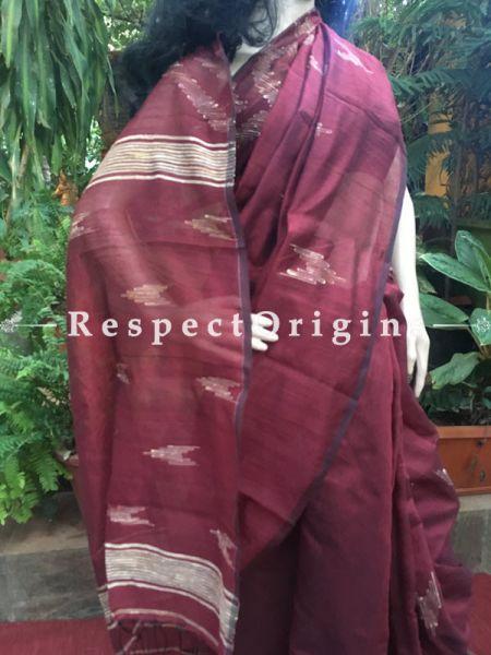 Maroon Handloomed Cotton Saree, RespectOrigins.com
