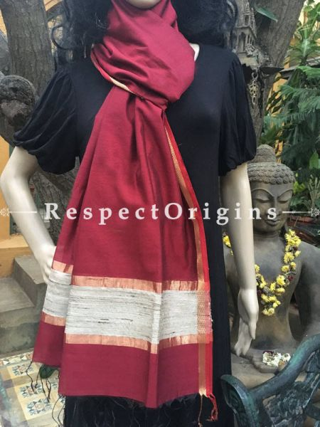 Handloom Maroon Maheshwari Cotton silk stole with golden Jute work and red border 50x35 inches; RespectOrigins.com