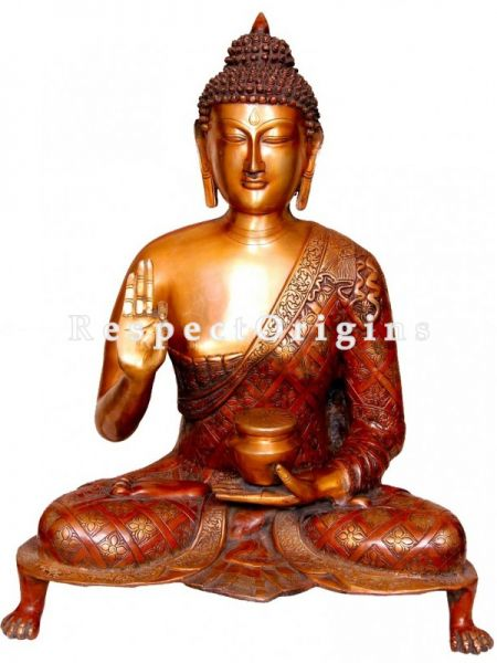 Handcrafted Meditating Statue Of Lord Buddha; Brass; 28 Inches
