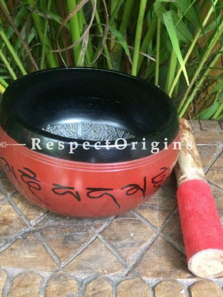 Buy Red and Black Handmade Vintage Brass Buddhist Meditation Tibetan Singing Bowl; Musical instrument For Meditation; 6 Inches At RespectOrigins.com