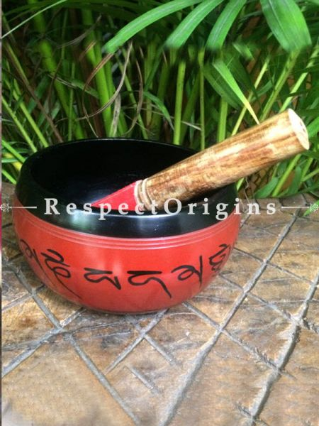 Buy Red and Black Handmade Vintage Brass Buddhist Meditation Tibetan Singing Bowl; Musical instrument For Meditation; 6 Inches At RespectOrigins.com