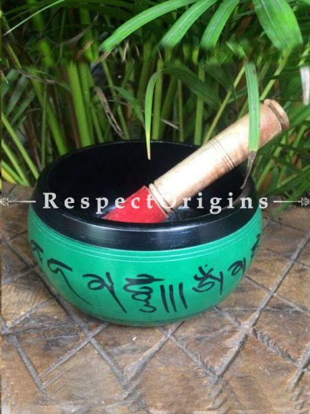 Buy Sea Green Handmade Vintage Brass Meditation Tibetan Buddhist Singing Bowl; Musical instrument For Meditation; 6 Inches At RespectOrigins.com
