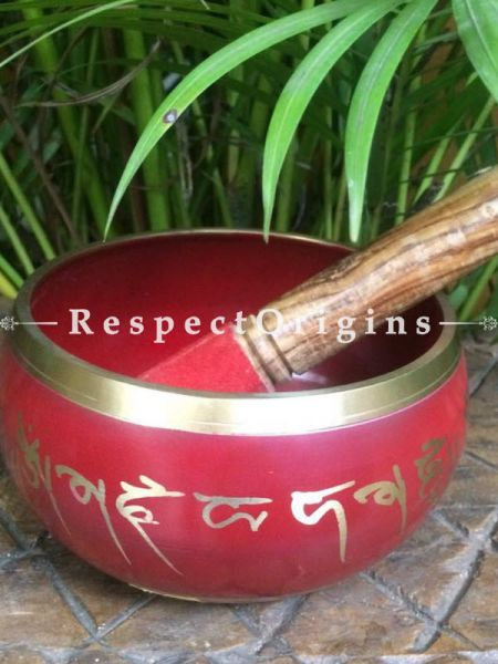 Buy Red Handmade Vintage Brass Meditation Tibetan Buddhist Singing Bowl; Musical instrument For Meditation; 6 Inches At RespectOrigins.com