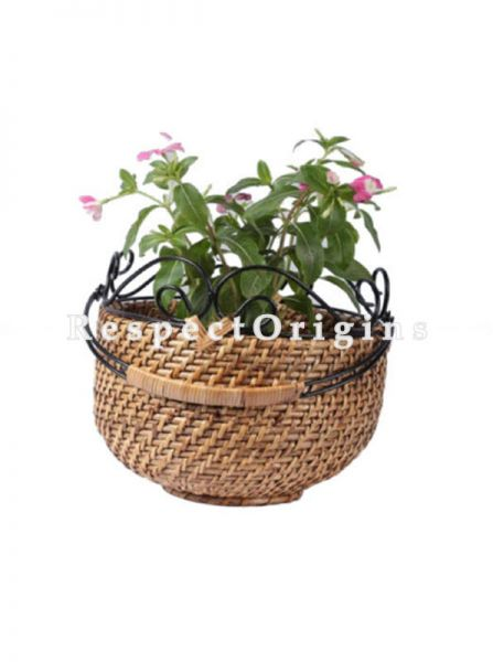 Buy Medium Hand Braided Round Rattan Cane Planter; RespectOrigins.com