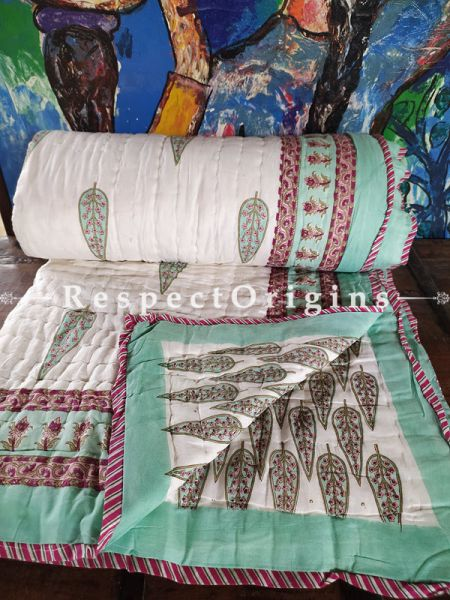Meera Luxury Rich Cotton- filled Reversible King Comforter; Hand Block-printed; 105 x 87 Inches; RespectOrigins.com