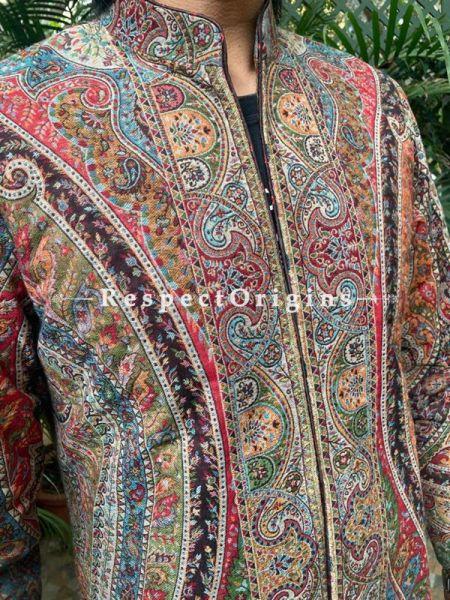 Lavish Formal Mens Designer Detailing Jamavar Jacket in Wool Blend; Silken Lining; RespectOrigins.com
