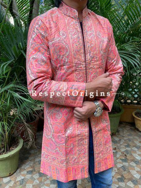 Brown Lavish Formal Mens Designer Detailing Jamavar Jacket in Wool Blend; Silken Lining; RespectOrigins.com